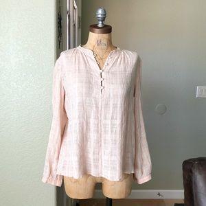 Rebecca Taylor Lurex Plaid Pink Blouse Top Shirt